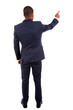 Full length of a African American business man pointing at somet