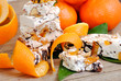 Holidays sweets, nougat with nuts and Sicilian orange peels