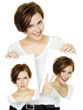 canvas print picture - Woman shows her varying attitudes and expression of emotions