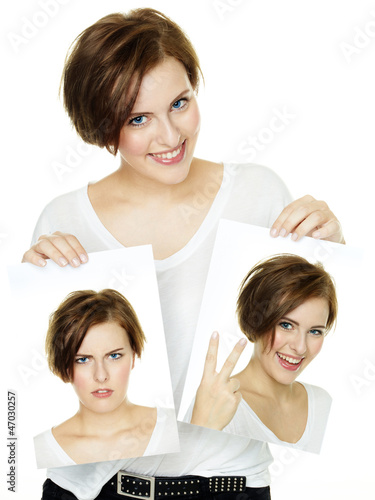 canvas print picture Woman shows her varying attitudes and expression of emotions