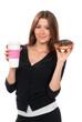 Woman enjoy donut and coffee