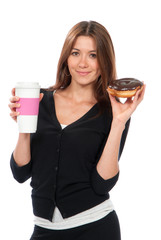 Woman enjoy donut and coffee