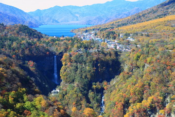 Kegon Falls and Lake Chuzenji in NIkko, Japan.