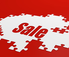 Sale background with pieces of puzzle