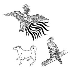 タカ、犬、鳳凰、
