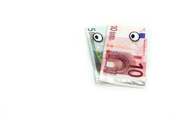 Notas de euro olhando para a esquerda