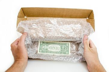 Caixa de encomenda com nota de um dólar