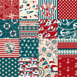 Nautical elements patchwork pattern