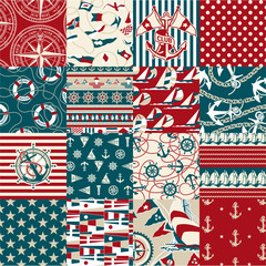Nautical elements patchwork pattern