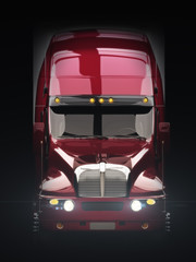 Semi truck with lights with dark background
