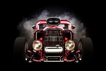 Hotrod with smoke background