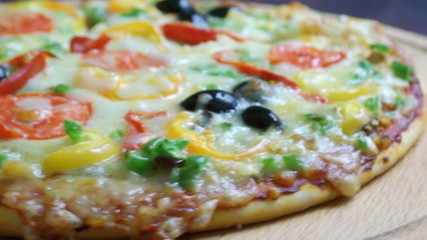 .home pizza with tomato and eggplant  Closeup