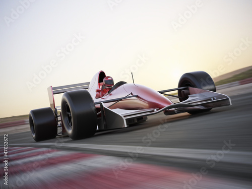 Indy car racer with blurred background - 47032672