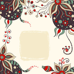 ornamental abstract handdrawn background with flower elements