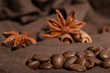 coffee beans and star anise, cinnamon