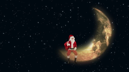 Santa Claus sitting on the Moon and waiting for Reindeer