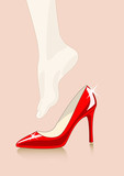 vector illustration of foot trying red shoe