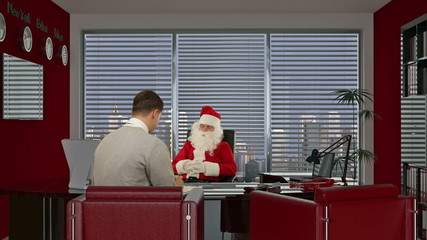 Santa Claus signing a contract with a Young Businessman