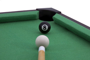 billiard game detail.Isolated on white