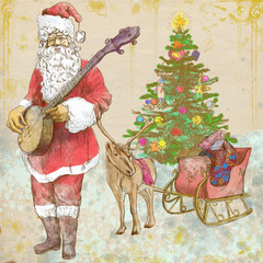 Santa Claus goes to play Christmas Carols on the Banjo.