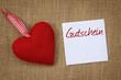 Zettel Gutschein mit Herz