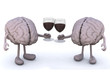 two human brain with glass of red wine