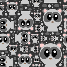 Seamless pattern with cute baby pandas