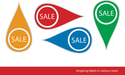 set of four various vector shopping tags