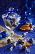 Christmas chocolate truffles in glass jar. Selective focus