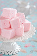 Homemade vanilla and rosewater marshmallows, selective focus