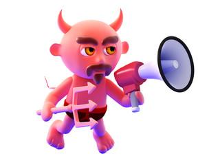 Devil shouts his commands through loudhailer