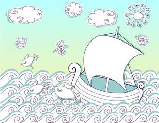 Sailing the Seas, Doodle - cutout boat on sunny seas