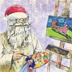 Santa Claus Painting Christmas card on canvas