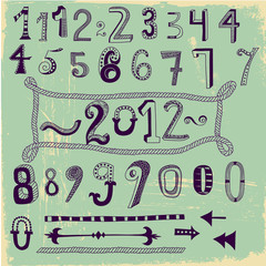 Whimsical Hand Drawn Numbers, Type Symbols