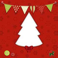 Christmas tree and bunting background