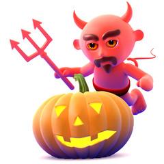 Devil finds a nice Halloween pumpkin