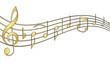 Goldene Musik Noten mit Schwung und Kontur
