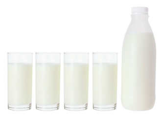 Milk in Glasses and Bottle