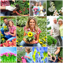 Gardening couple with flower.