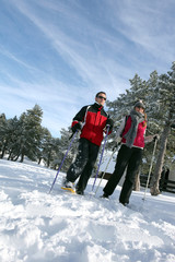 Couple going skiing