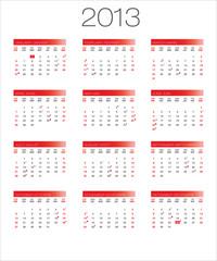 calendar | calendrier bilingual 2013 moon_red EN+FR