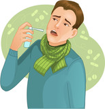 Ill man who has cold and uses spray for throat