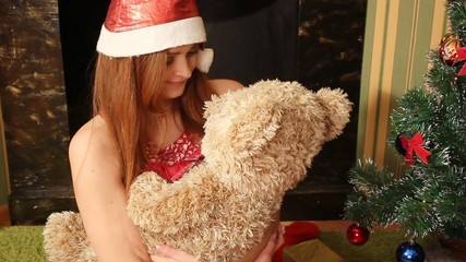 girl hug a teddy bear, full HD