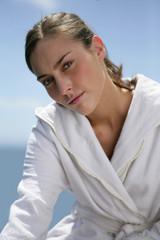 woman relaxing near the sea
