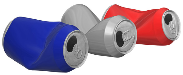 Three-dimensional image of crumpled aluminum cans.
