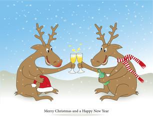 Rentiere feiern Weihnachten