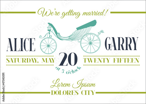 Wedding Invitation Card - Carriage Theme - in vector