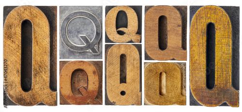 letter Q in wood type blocks