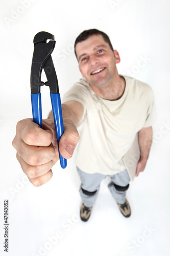 Worker holding clipper