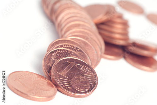 Crashed stack of euro cents used